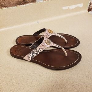 Tory Burch leather snakeskin sandals